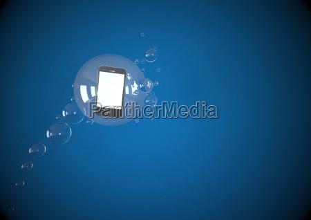 illustration der mobilen schwimmenden in blasen