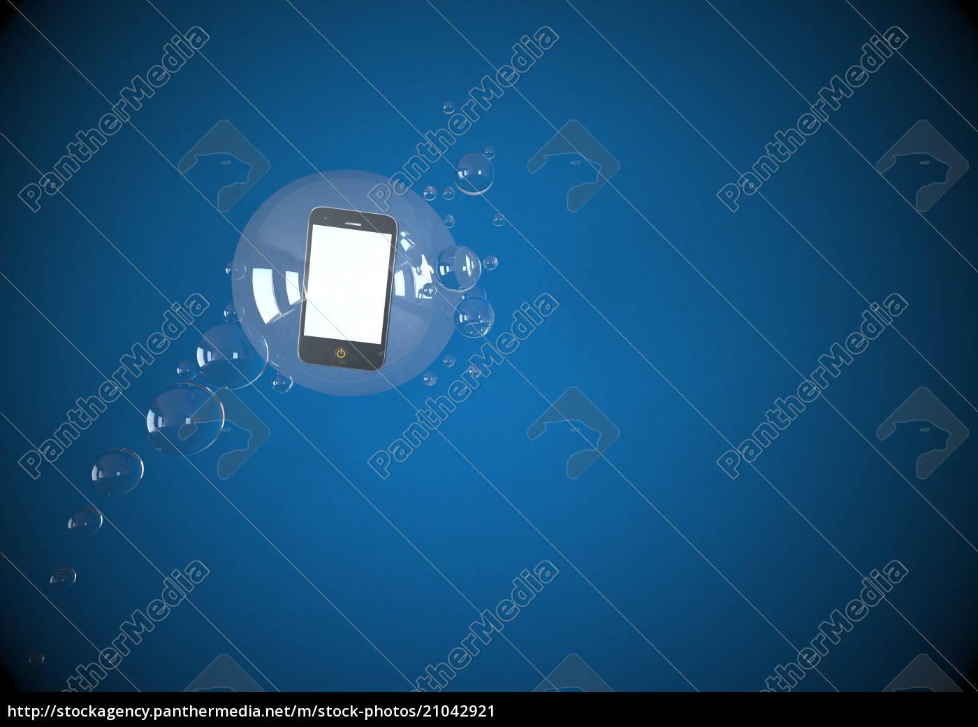 illustration, der, mobilen, schwimmenden, in, blasen - 21042921