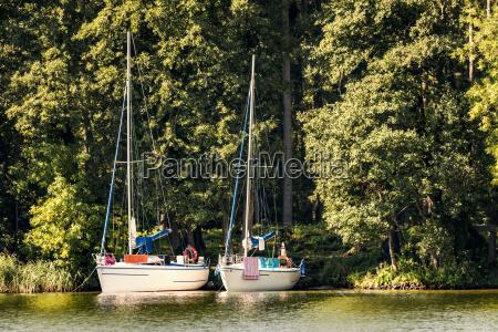 poland masuria sailing boats on lake