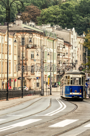 polen krakau strassenbahn in der altstadt