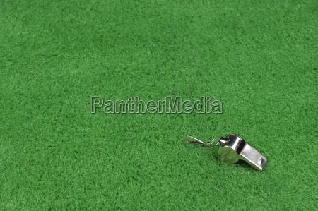 umpire pfeift auf gruenem rasen