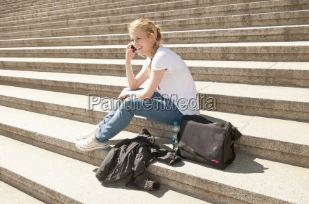 germany berlin young woman sitting on