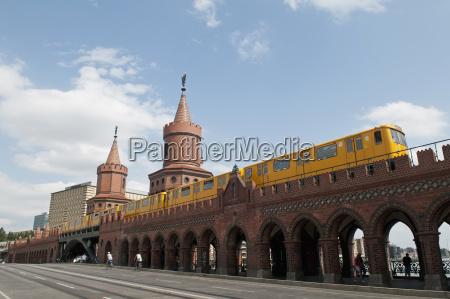 germany berlin oberbaum bridge with metro
