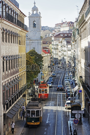 portugal lisboa bica two electricos at
