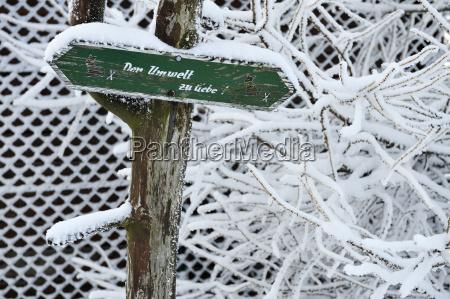 germany thurinigia oberhof sign at tree