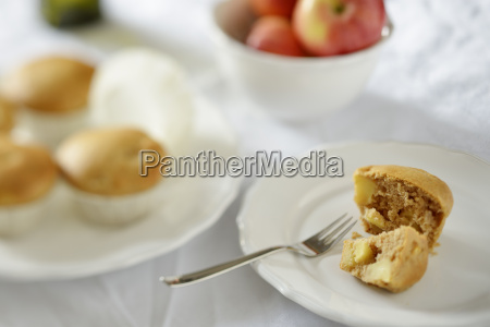 apple muffins with cinnamon on plate