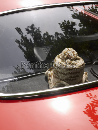 germany hesse vintage car with crocheted