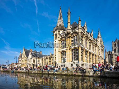 belgium ghent old town graslei historical
