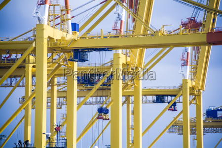 germany bremerhaven yellow container cranes against
