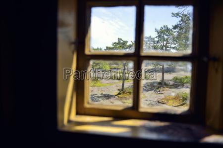 sweden oernskoeldsvik view through window in