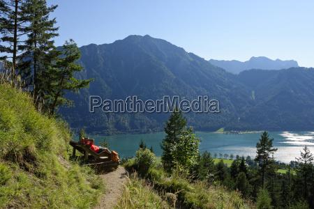 austria tyrol rofan mountains hiker relaxing
