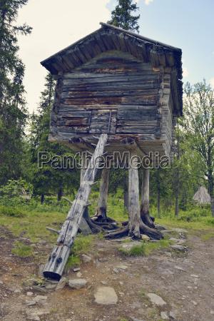 sweden vilhelmina old storehouse in fatmomakke