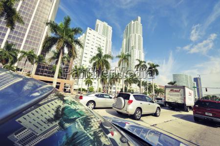 usa florida miami skyscrapers and traffic