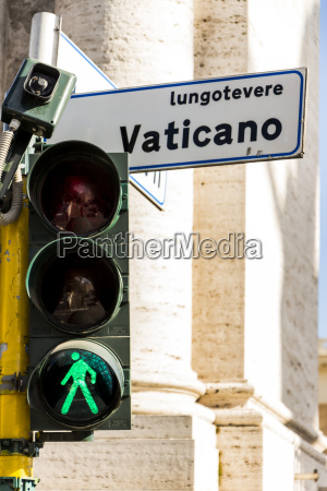 italy rome green traffic light and