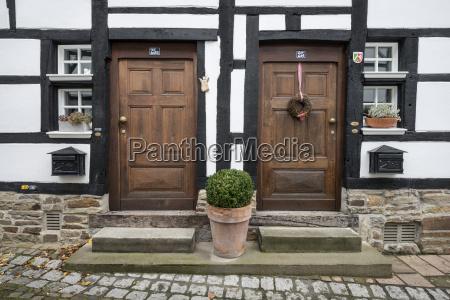 germany essen old wooden doors of