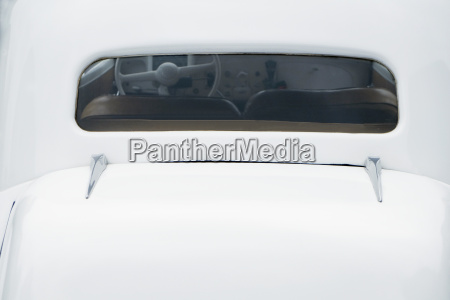 rear window of white citroen 11cv