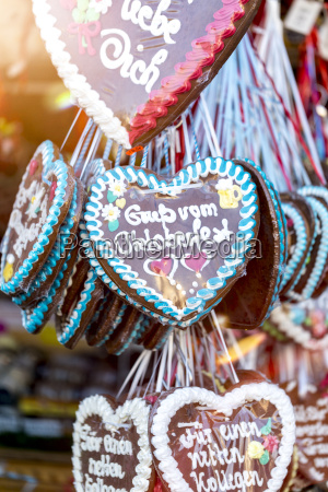 germany munich gingerbread hearts at the