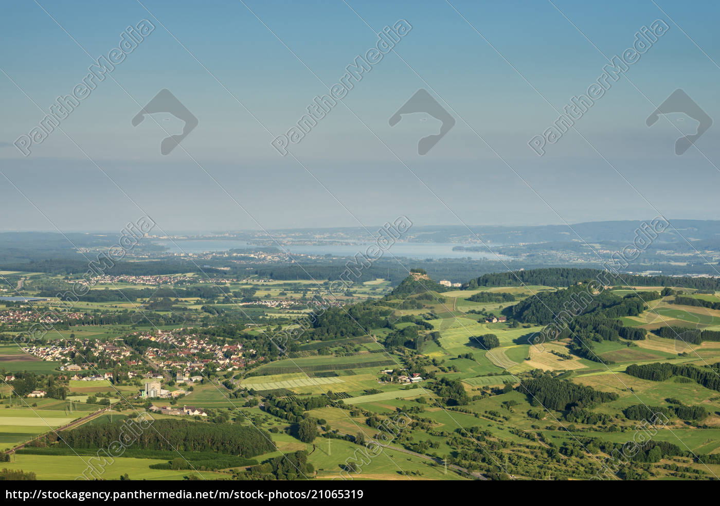 deutschland, baden-württemberg, blick, auf, hegau, landschaft, und, bodensee - 21065319