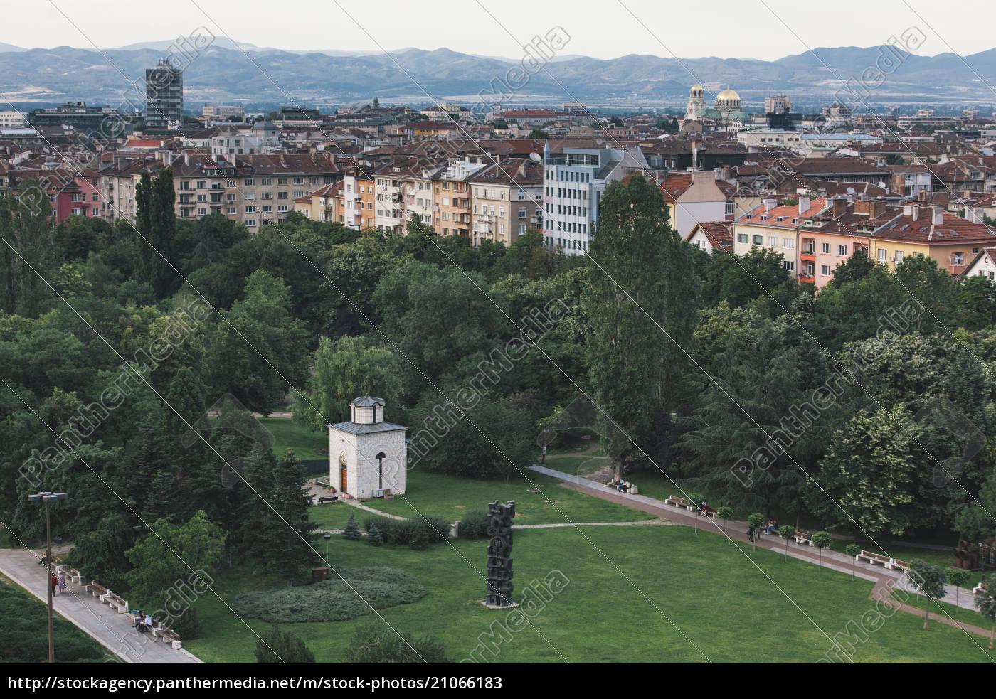 bulgarien, sofia, stadtansicht, blick, vom, nationalen, kulturpalast, zum, park - 21066183