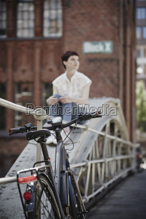 germany hamburg electric bicycle leaning against