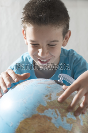 smiling little boy looking at a