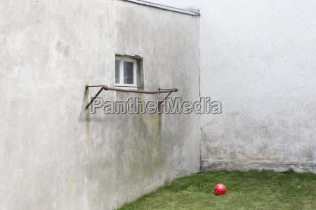 germany glum backyard with red ball