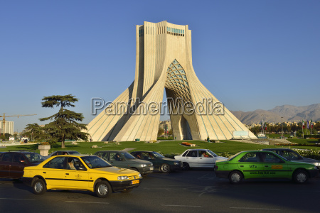 iran tehran traffic around azadi tower
