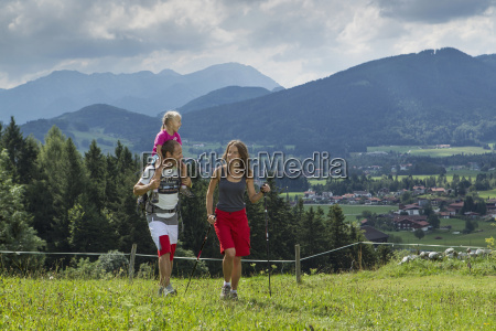germany bavaria chiemgau family hiking in