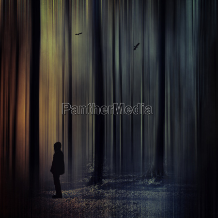 germany man standing in forest digitally