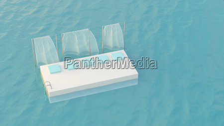 platform with cushions floating in the