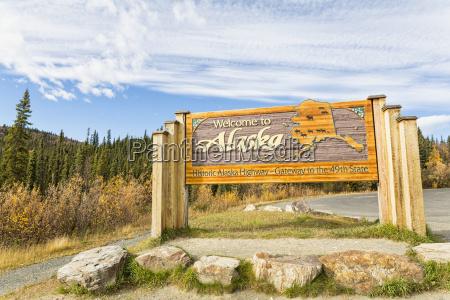 usa alaska welcome sign at alaska