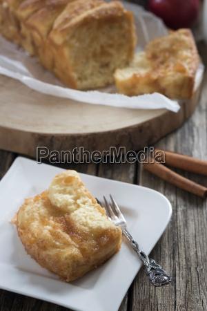 piece of apple pie with cinnamon