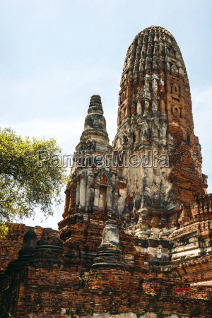 thailand ayutthaya view to temple wat