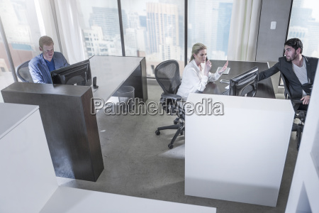 people working in city office