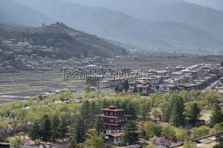 bhutan view of paro valley and