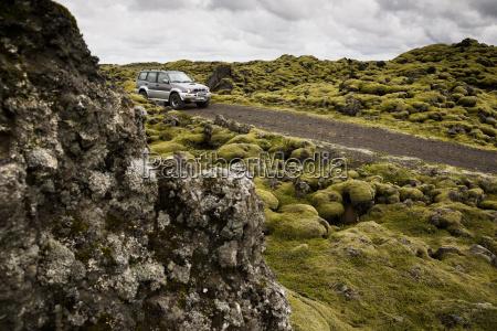 iceland skaftareldahraun lava field off road