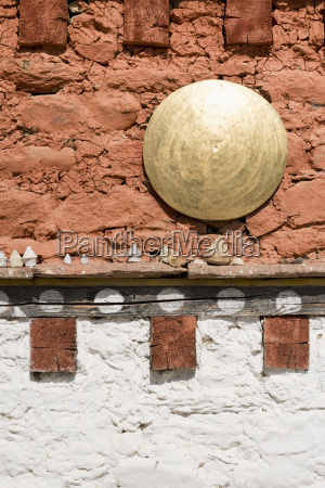 bhutan wall of tamshing temple close