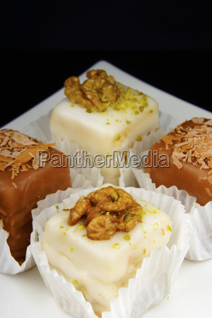 petit fours and pralines in cake