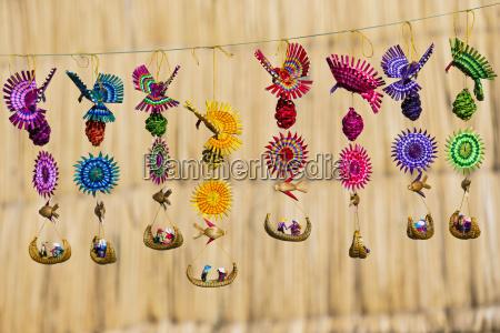 peru titicaca lake typical souvenirs of