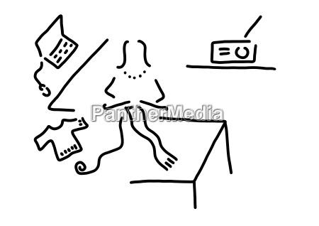 laptop strickender schal der frau federzeichnung