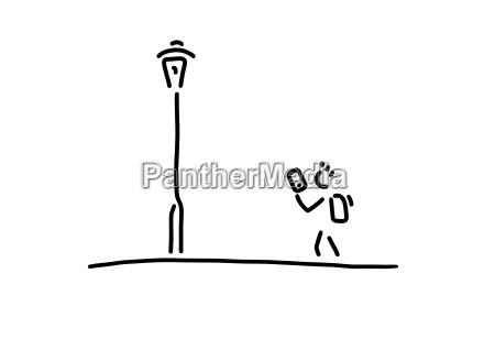 schueler mit smartphone strassenlaterne linienzeichnung schwarz