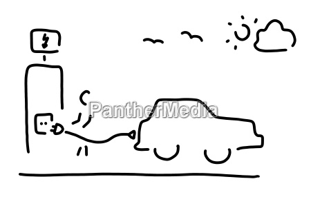 elektrofahrzeug ladestation strichzeichnung schwarz und weiss