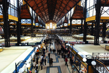 hungary budapest people shopping at central