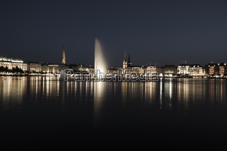 germany hamburg binnenalster with skyline at