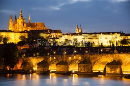 prague charles bridge vltava river and