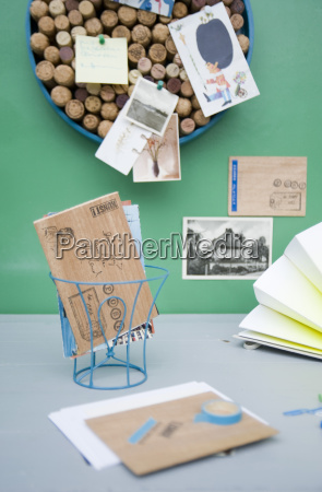 pinboard made of corks wooden postcards