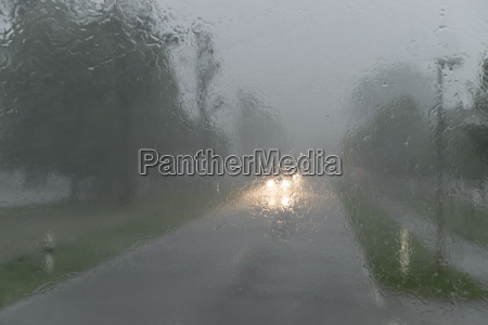 germany rain fall on front windshield