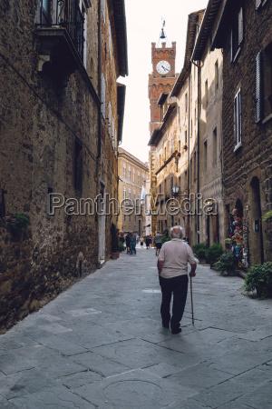 italy tuscany pienza old man walking