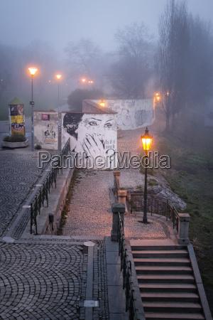 czech republic prague promanade at river