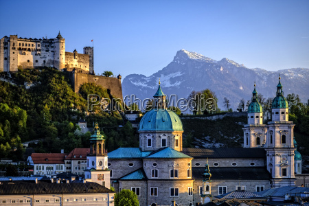 austria salzburg cathedral and hohensalzburg